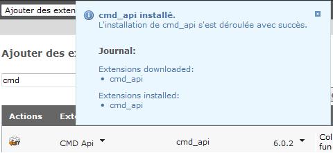 Message de confirmation après l'installation d'une extension