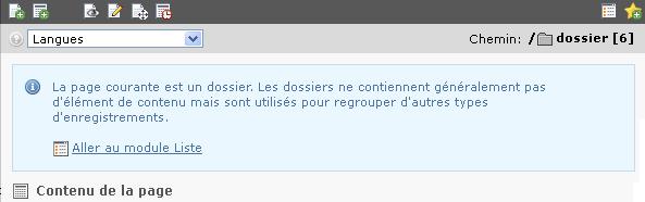 Message flash dans le module page pour un dossier